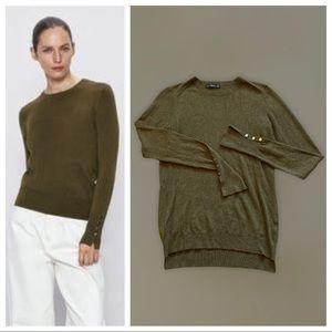 ZARA Olive Green Split Cuff Sweater Medium